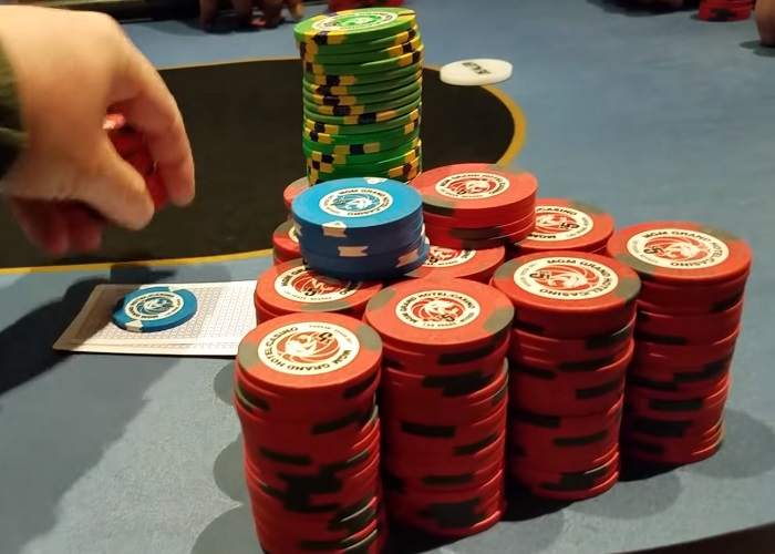 poker chips stack table